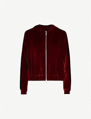 SERENA BUTE LONDON Zip-down velvet hoody
