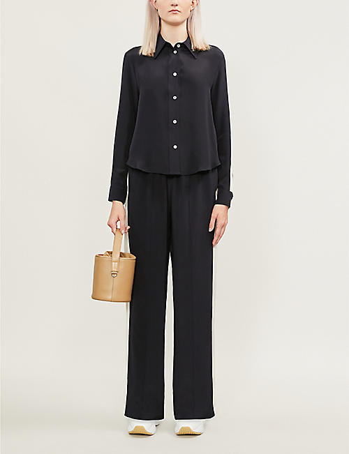 SERENA BUTE LONDON Button-down silk-crepe shirt