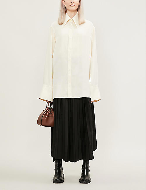 SERENA BUTE LONDON Oversized silk-crepe shirt
