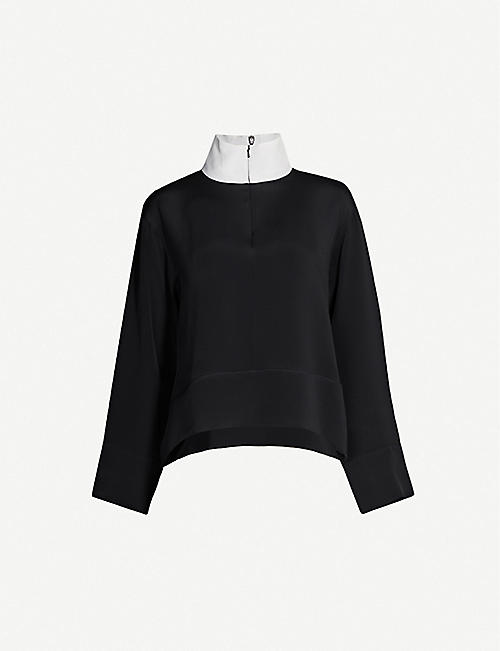 SERENA BUTE LONDON Zipped high-neck silk top