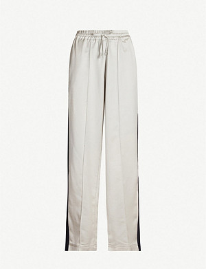 SERENA BUTE LONDON Side-stripe silk-blend jogging bottoms