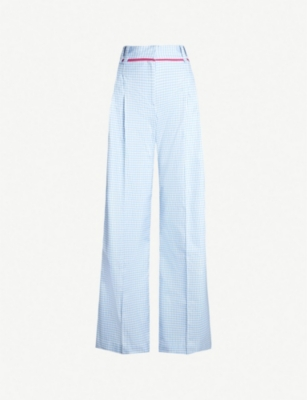SERENA BUTE LONDON Contrast-trim checked wide-leg woven trousers