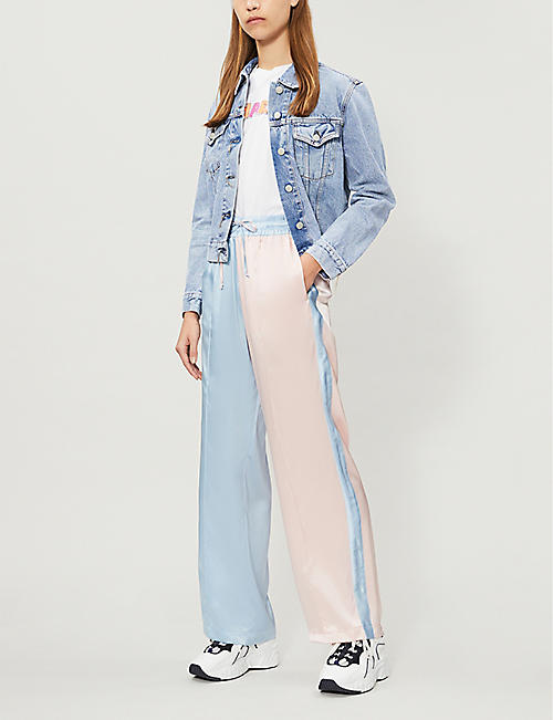 SERENA BUTE LONDON Side-stripe silk-satin jogging bottoms