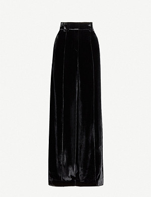 SERENA BUTE LONDON Side-stripe wide-leg velvet trousers