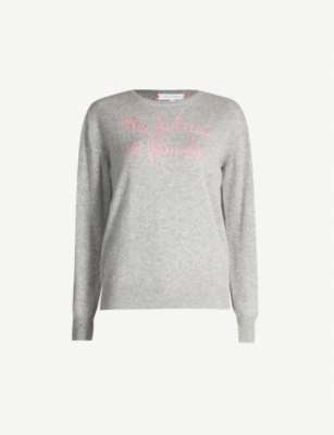 LINGUA FRANCA 'The future is female' slogan fine-knit cashmere jumper
