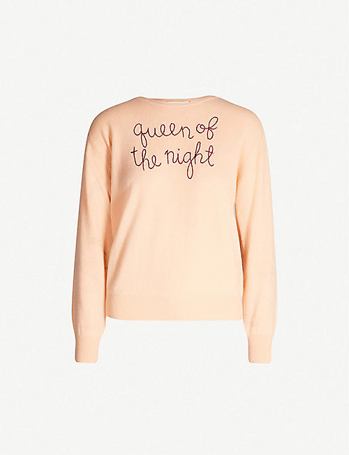 LINGUA FRANCA Slogan-embroidered cashmere jumper