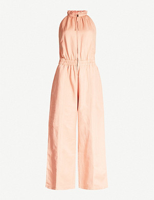 APIECE APART Archer ruffled-neck cotton-blend jumpsuit