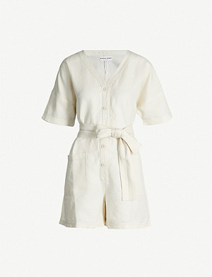 APIECE APART Nasirria waist-tie cotton-linen playsuit