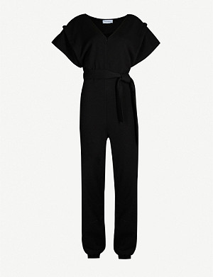 NINETY PERCENT Belted V-neck organic-cotton jumpsuit
