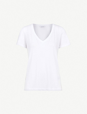 NINETY PERCENT Ruby V-neck cotton-jersey T-shirt