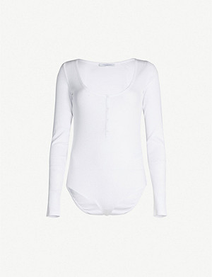 NINETY PERCENT Henley ribbed organic stretch-cotton body
