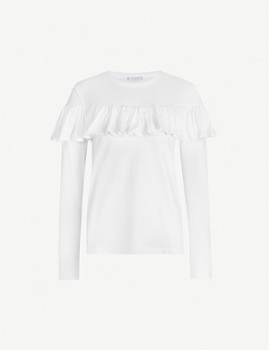 NINETY PERCENT Frilled organic cotton-jersey top