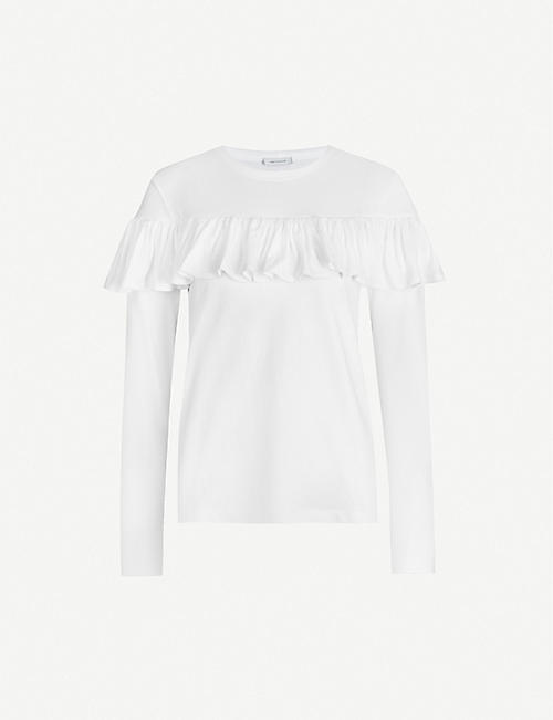 NINETY PERCENT: Frilled organic cotton-jersey top