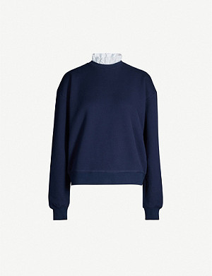 NINETY PERCENT Pie-crust collar organic cotton-jersey sweatshirt