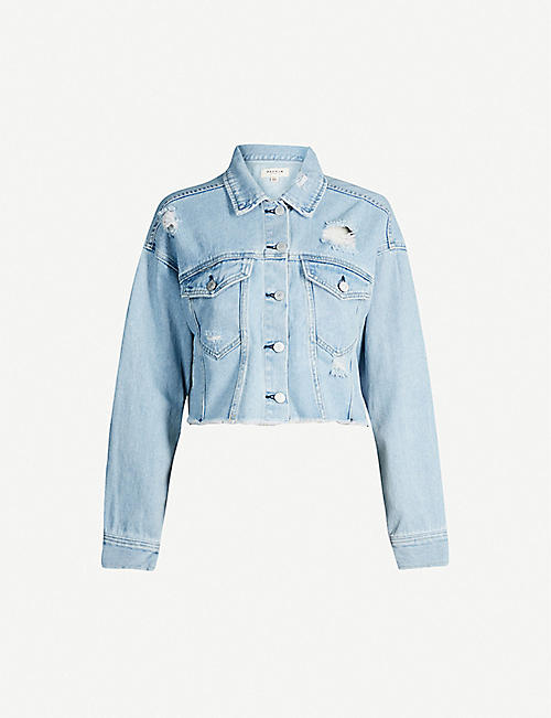 PACSUN Frayed-hem denim jacket