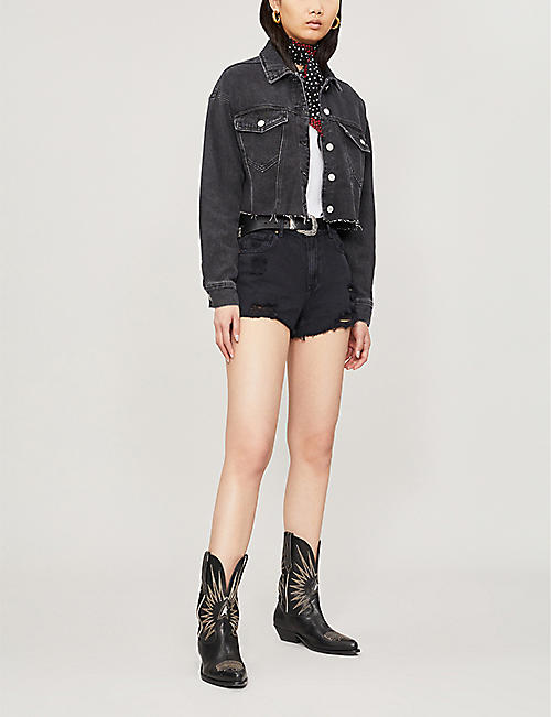 PACSUN Ripped high-rise denim shorts