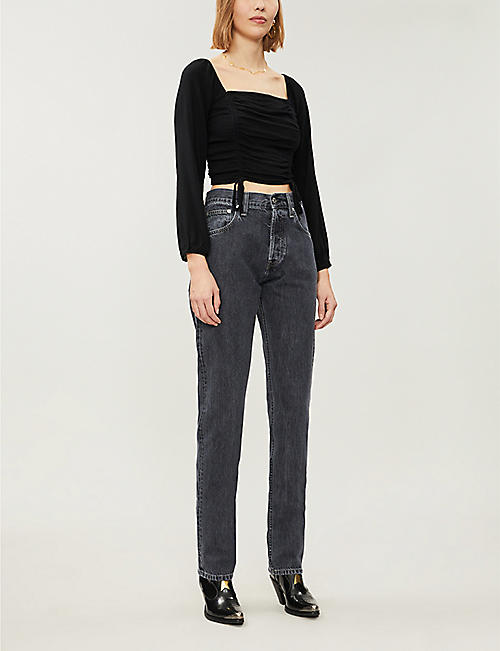PACSUN Ruched woven top