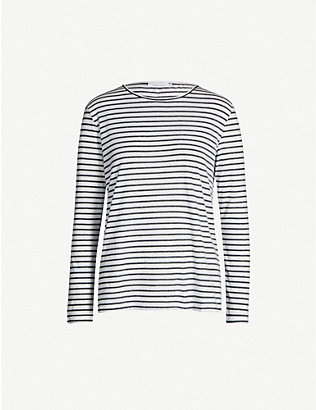 SAMSOE & SAMSOE: Round-neck striped jersey top