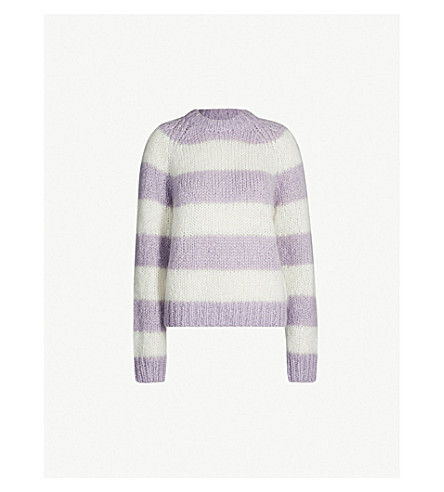 ce3ec5f7014 SAMSOE   SAMSOE Simone striped mohair and wool-blend jumper (Pastel+lilac+