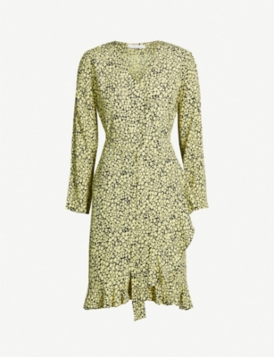 SAMSOE & SAMSOE Limon frill-trimmed wrap-over woven dress