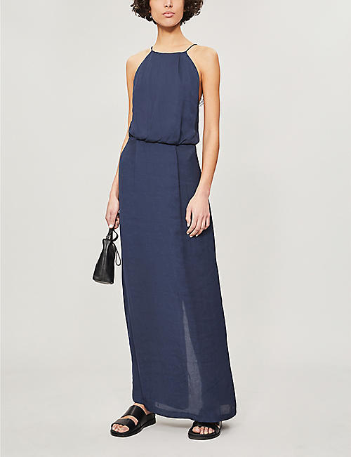 SAMSOE & SAMSOE Willow satin and lace midi dress