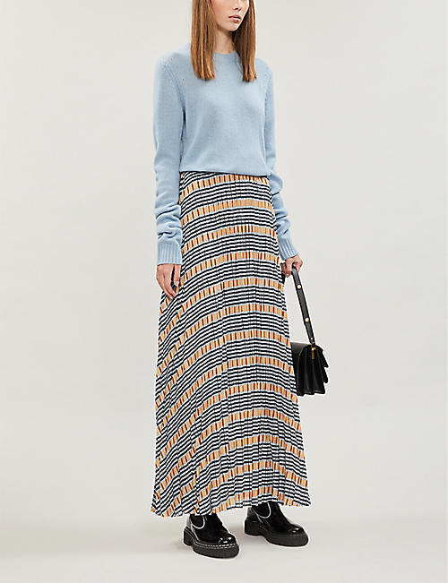 SAMSOE & SAMSOE Juliette pleated checked satin-crepe maxi skirt