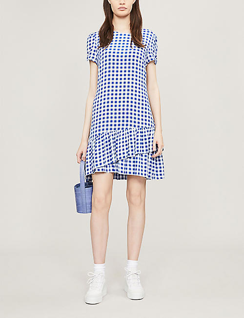 SAMSOE & SAMSOE Monza checked tiered-hem crepe dress