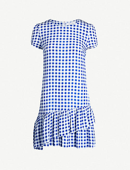 45347d04607c7b SAMSOE   SAMSOE Monza checked tiered-hem crepe dress