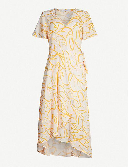 cb44e23200 SAMSOE   SAMSOE Veneto floral-print asymmetric crepe midi dress