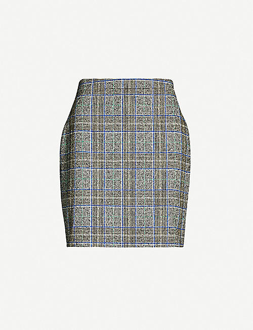 SAMSOE & SAMSOE Cory checked cotton-blend miniskirt