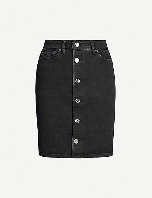 SAMSOE & SAMSOE Pamela button-down stretch-denim skirt