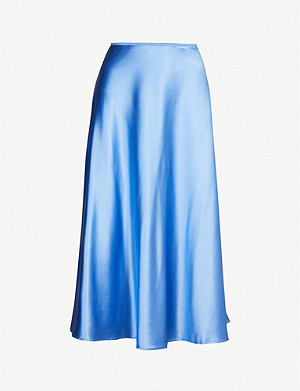 SAMSOE & SAMSOE Alsop high-waisted satin midi skirt