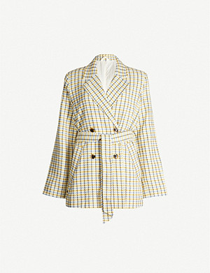 SAMSOE & SAMSOE Minty checked cotton-blend blazer