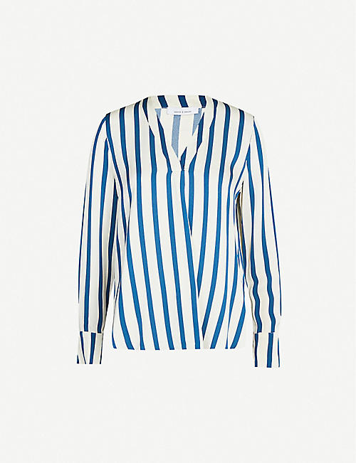SAMSOE & SAMSOE Hamill striped V-neck crepe blouse