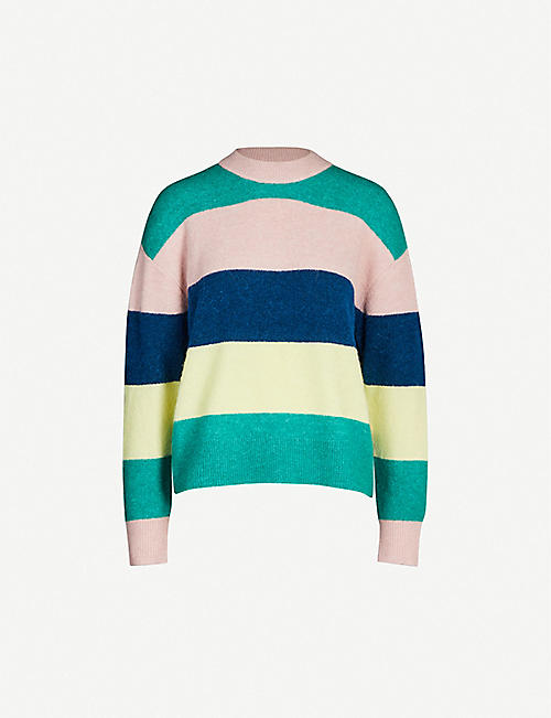 SAMSOE & SAMSOE Anour striped alpaca-and-wool blend jumper