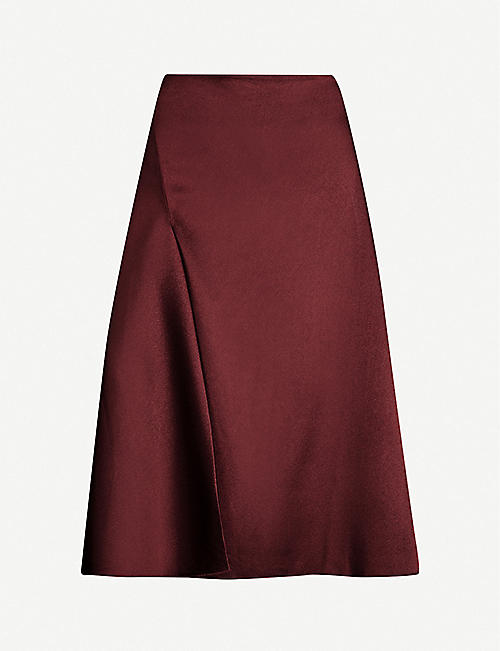 SAMSOE & SAMSOE Eva high-waisted satin-crepe midi skirt