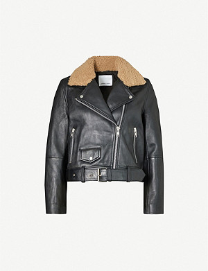 SAMSOE & SAMSOE Dores trimmed-collar leather biker jacket