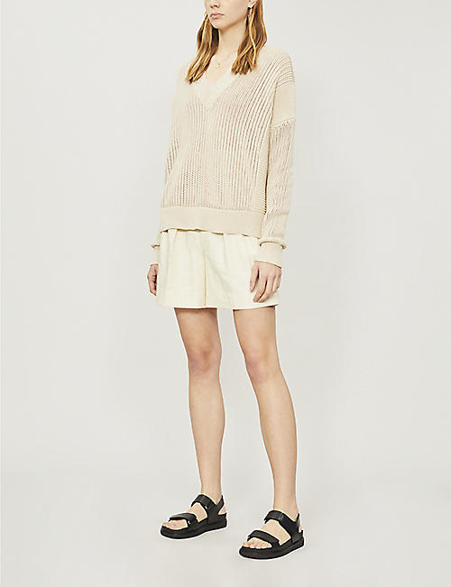 IBEN V-neck cotton, wool and cashmere-blend jumper