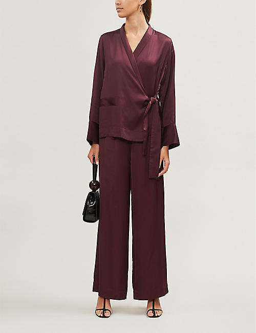 IBEN Helmer relaxed-fit wrap-over satin shirt