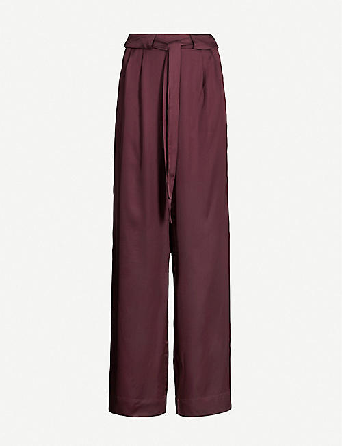 IBEN Helmer wide pleated satin trousers