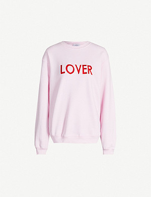 DOUBLE TROUBLE GANG Lover-embroidered cotton-blend sweatshirt