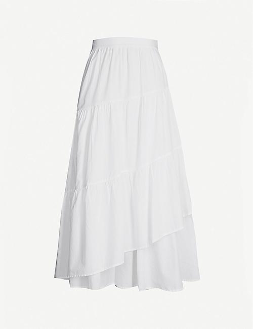60e1ce6ec MERLETTE Hallerbos high-rise A-line cotton-poplin midi skirt