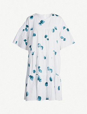 MERLETTE St Germain petal-print cotton-poplin dress