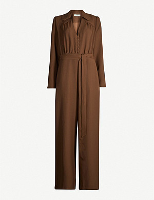HAPPY X NATURE Gem belted straight-leg recycled polyester-blend jumpsuit