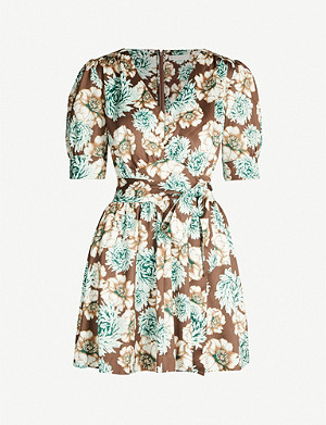 HAPPY X NATURE Felicity floral-print puff-sleeve crepe dress