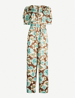 HAPPY X NATURE Felicity floral-print puff-sleeve crepe jumpsuit