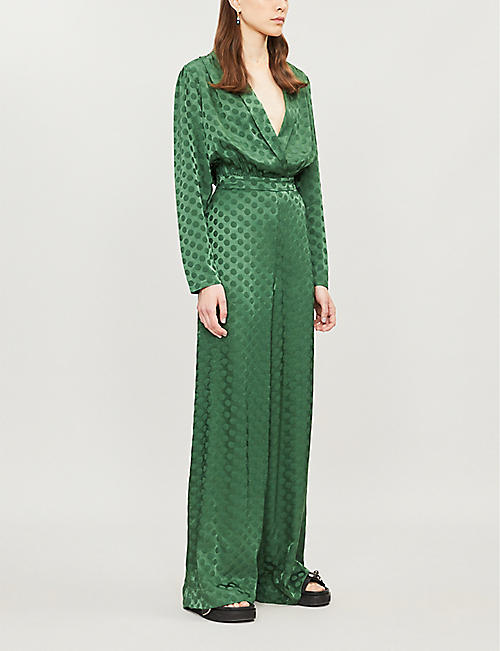 HAPPY X NATURE Celeste polka-dot print crepe jumpsuit
