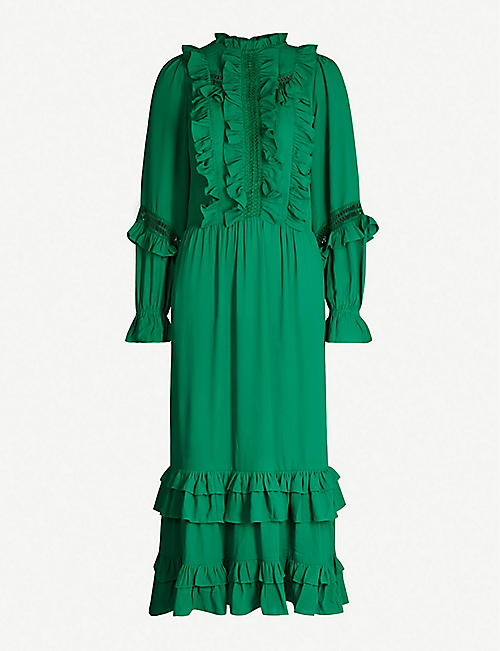 HAPPY X NATURE Lark ruffled recycled polyester midi dress