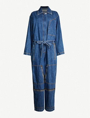 HAPPY X NATURE Jetstream belted faded-wash denim jumpsuit