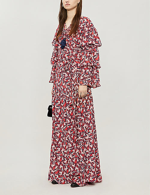 HAPPY X NATURE Phoenix butterflies-print recycled-polyester maxi dress